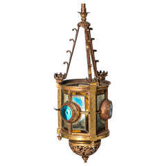 Arts and Crafts brass and stained glass lantern, England circa 1900