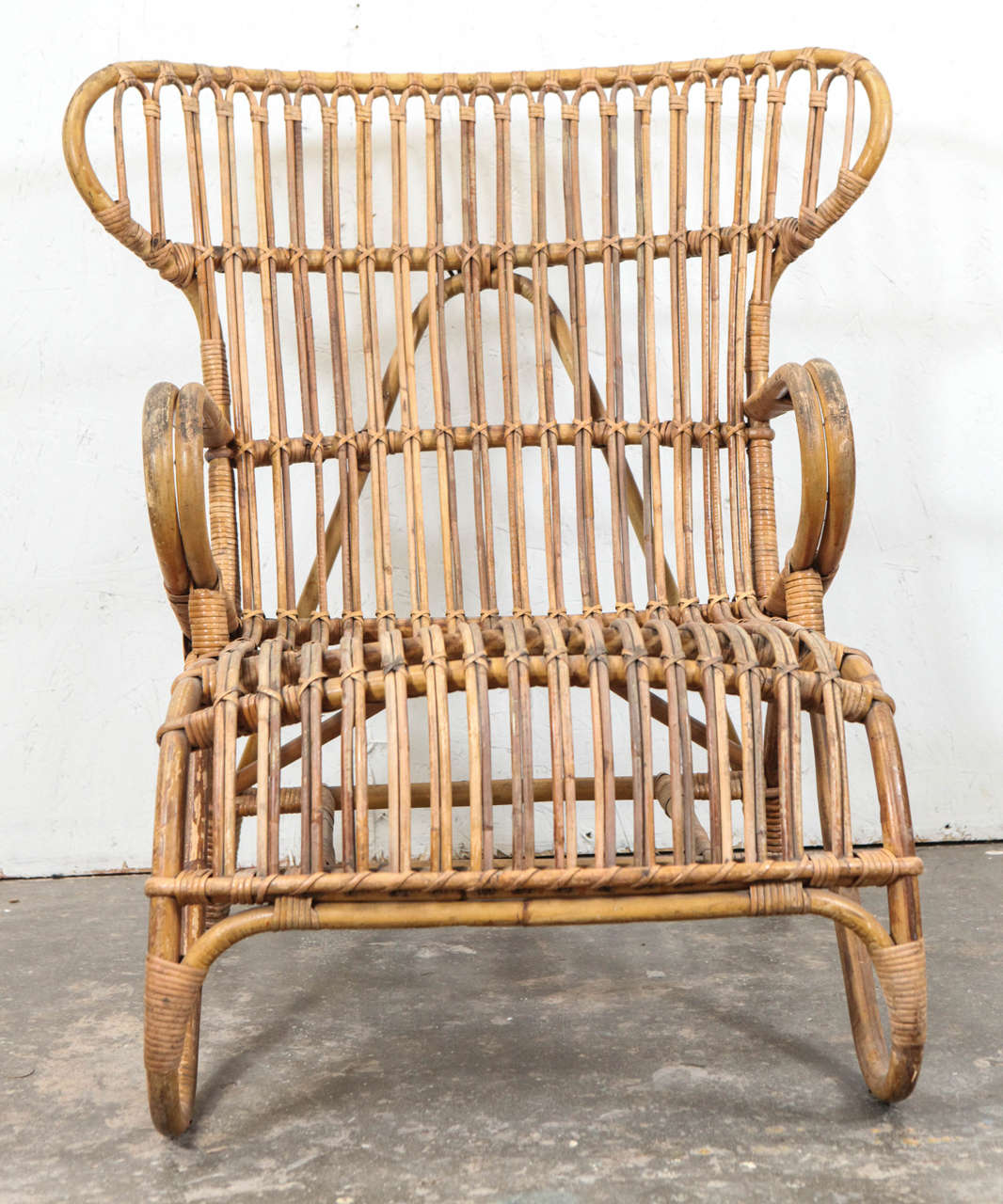 Mid Century Modern Vintage European Rattan Wingback Chair For Sale