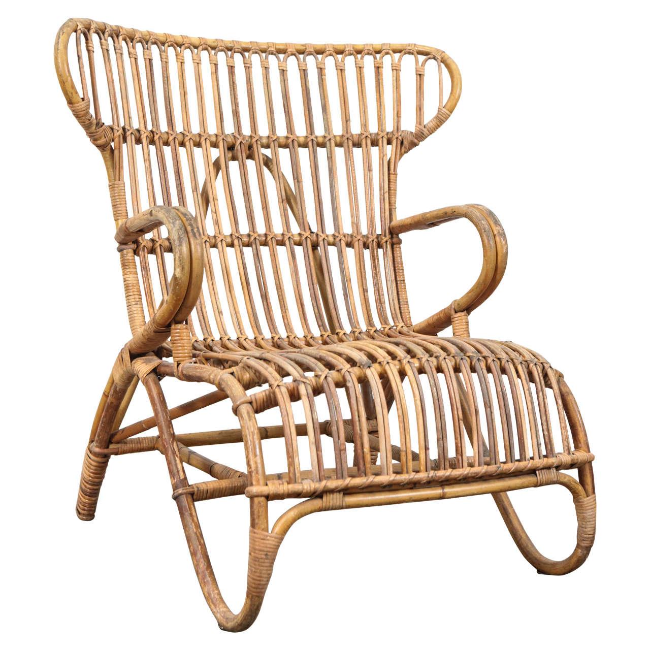 Vintage European Rattan Wingback Chair At 1stdibs