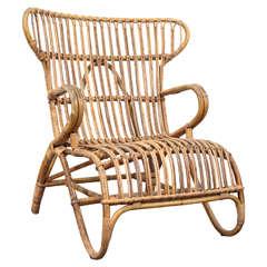 Vintage European Rattan Wingback Chair