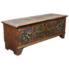 Rustic Vintage Hand Painted Trunk with Flower Details