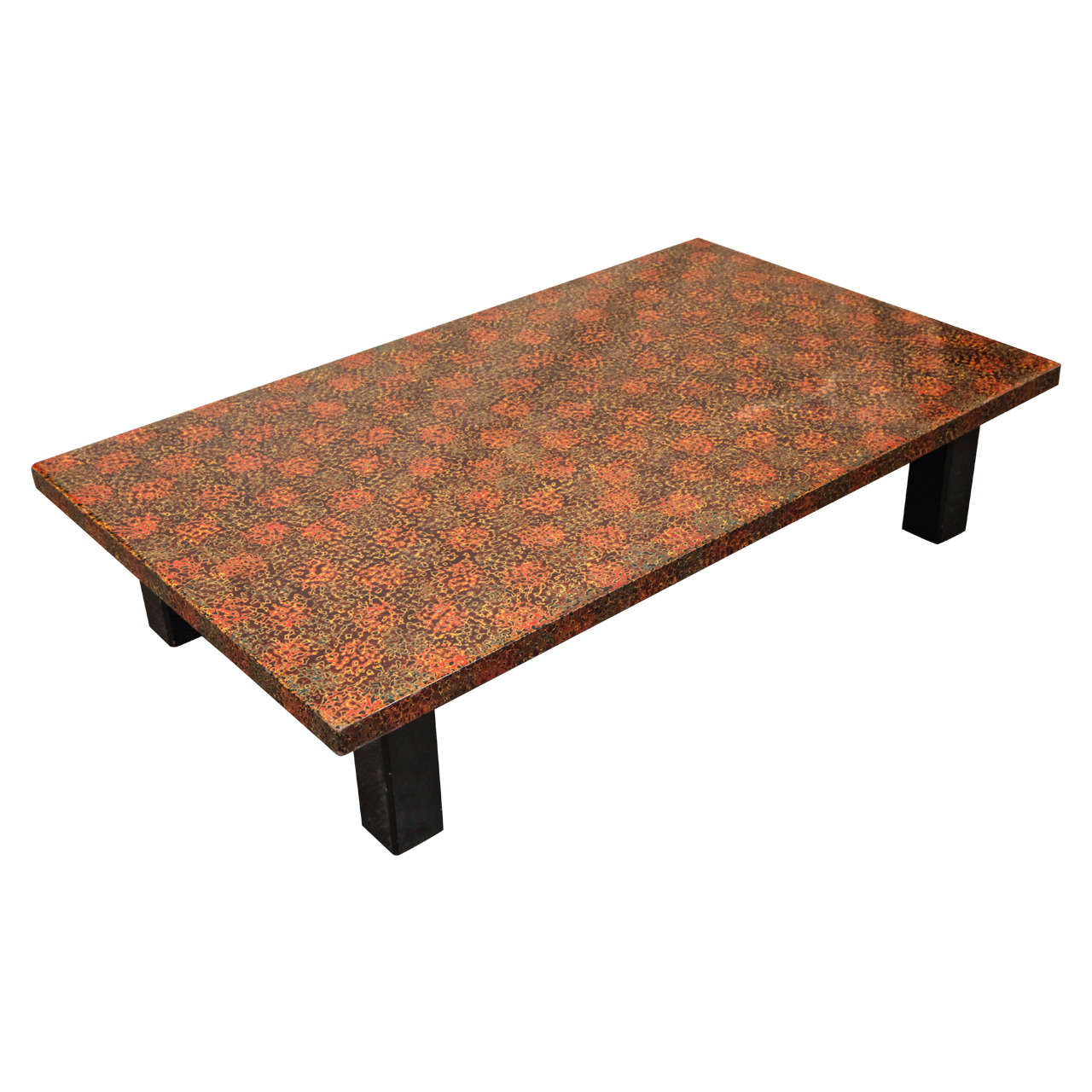 Low Multi Color Lacquer Top Coffee Table At 1stdibs