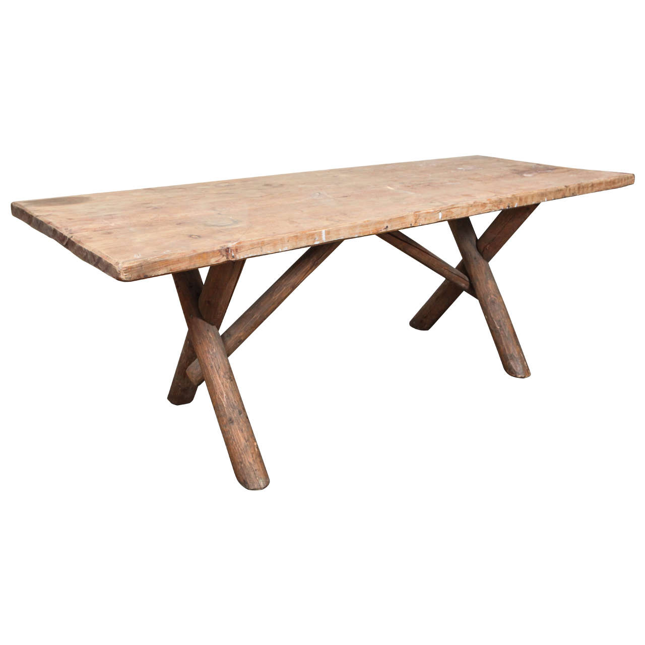 Rustic American Dining Farm Table with X Base For Sale at 1stdibs