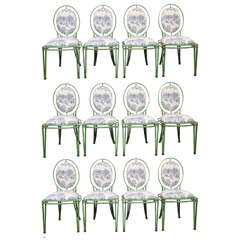 Set of 12 Green Metal and Toile Oval Back Dining Chairs