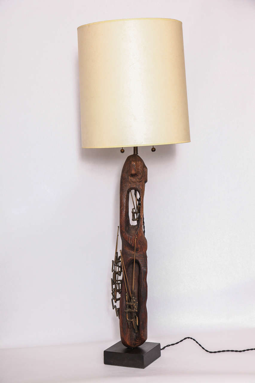 Table lamp Brutalist Mid-Century Modern patinated iron and wood 1960s New sockets and rewired Shade not included.