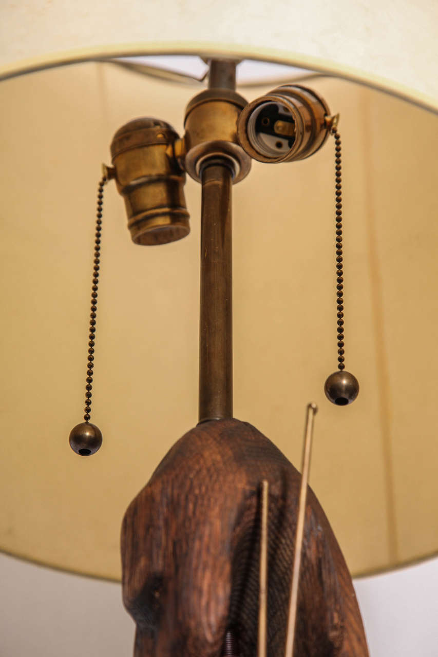 Table Lamp Brutalist Mid-Century Modern Patinated Iron and Wood, 1960s For Sale 3