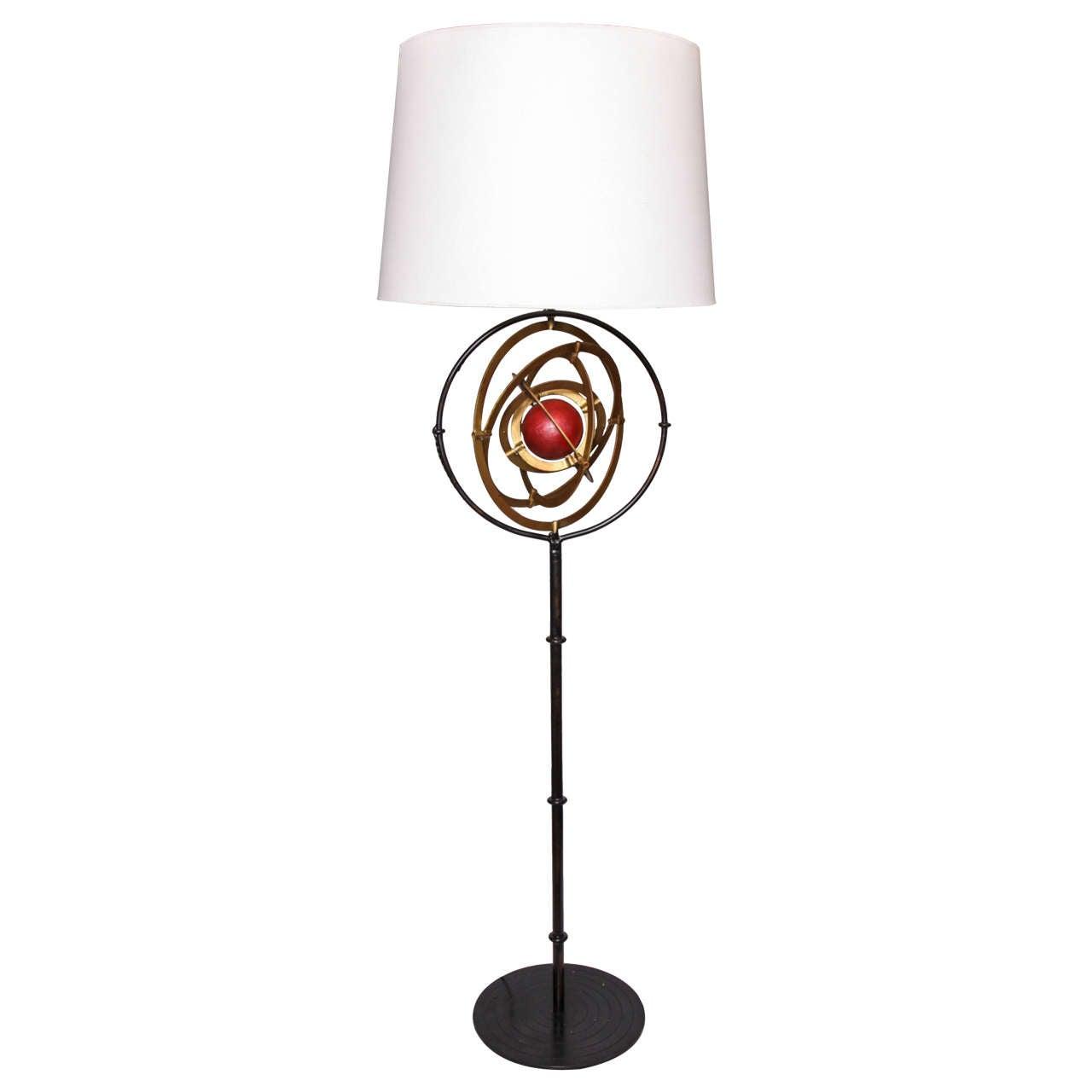 1940s French Art Moderne Celestial Floor Lamp