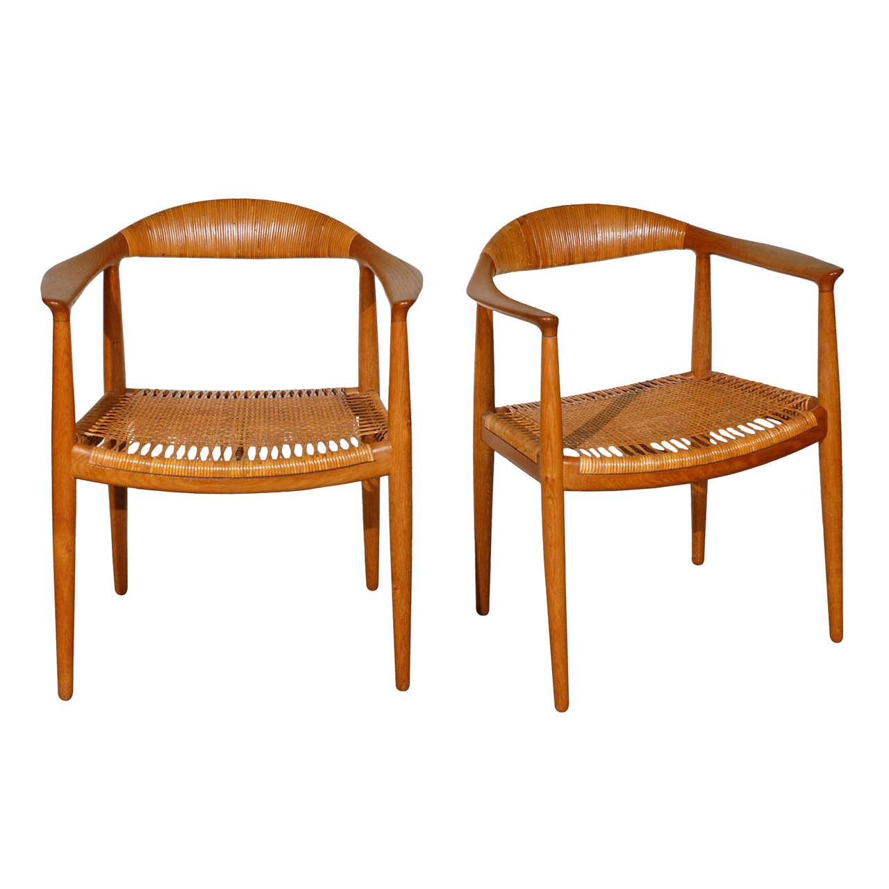 Pair Of Hans Wegner The Chair By Johannes Hansen At 1stdibs