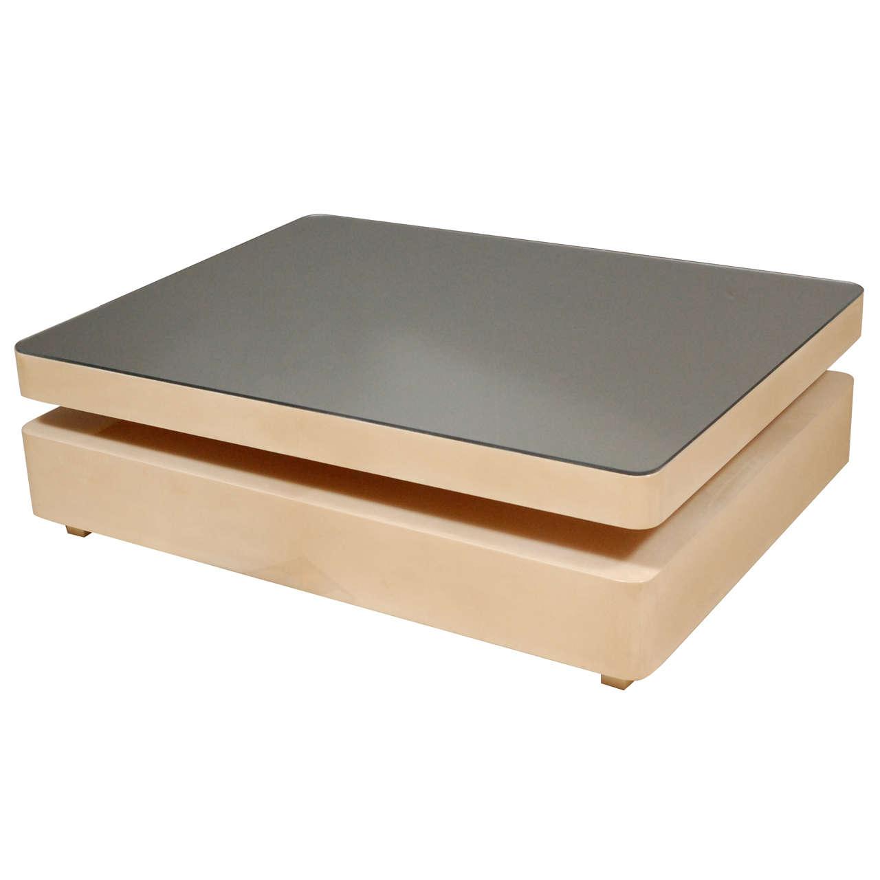 Harvey Probber Marble Top Rectangular Coffee Table W: Rectangular Parchment Coffee Table W/ Sliding Mirrored Top