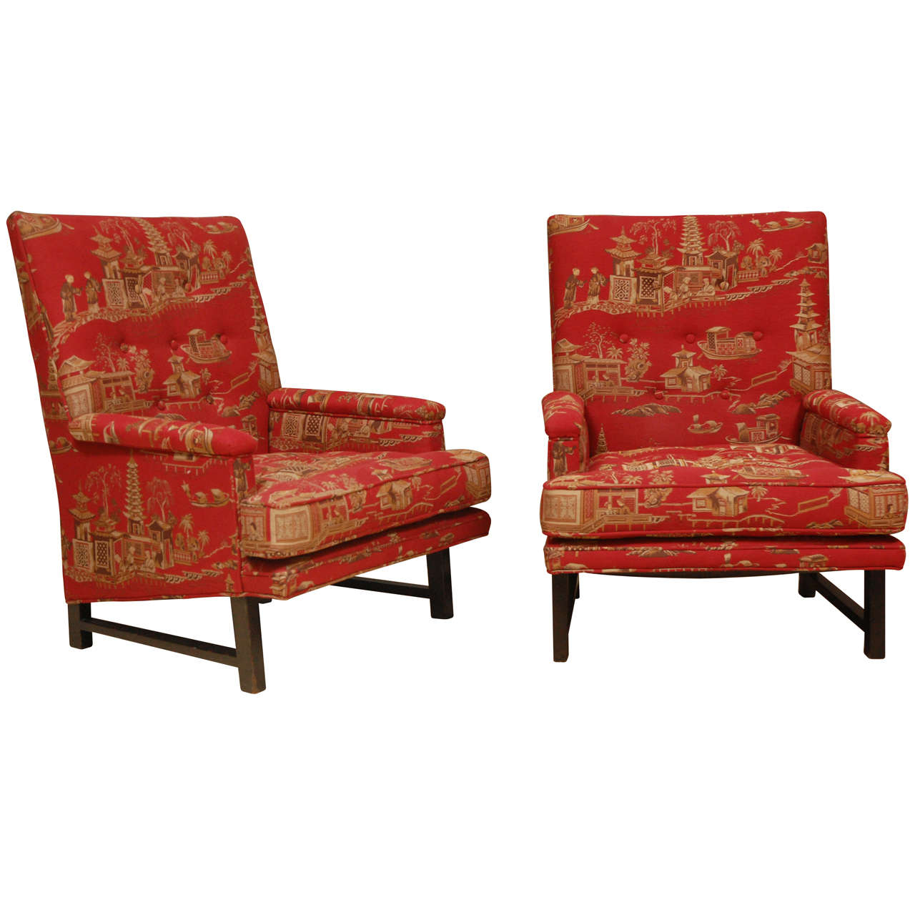 Rare highback version of dunbar arm chairs by edward wormley in original fabric at 1stdibs - Edward wormley chairs ...