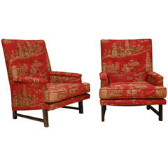 Rare Highback Version of Dunbar Arm Chairs by Edward Wormley in Original Fabric.