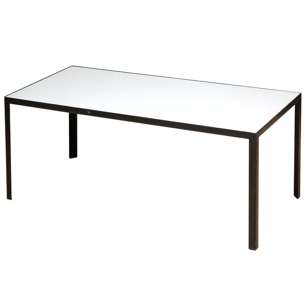 Pilastro Style Steel Framed Coffee Table With White Glass Top At 1stdibs