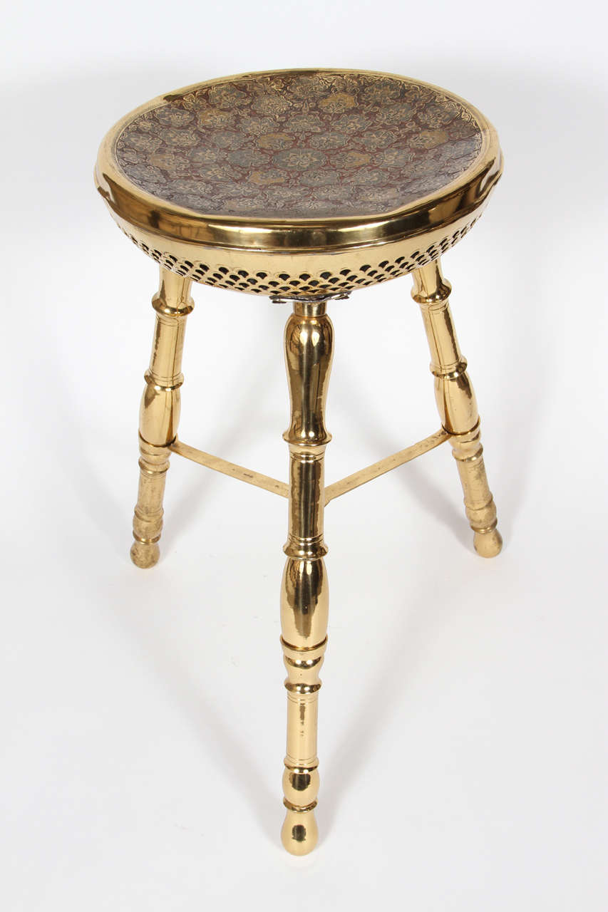Vintage Polished Brass Stool At 1stdibs