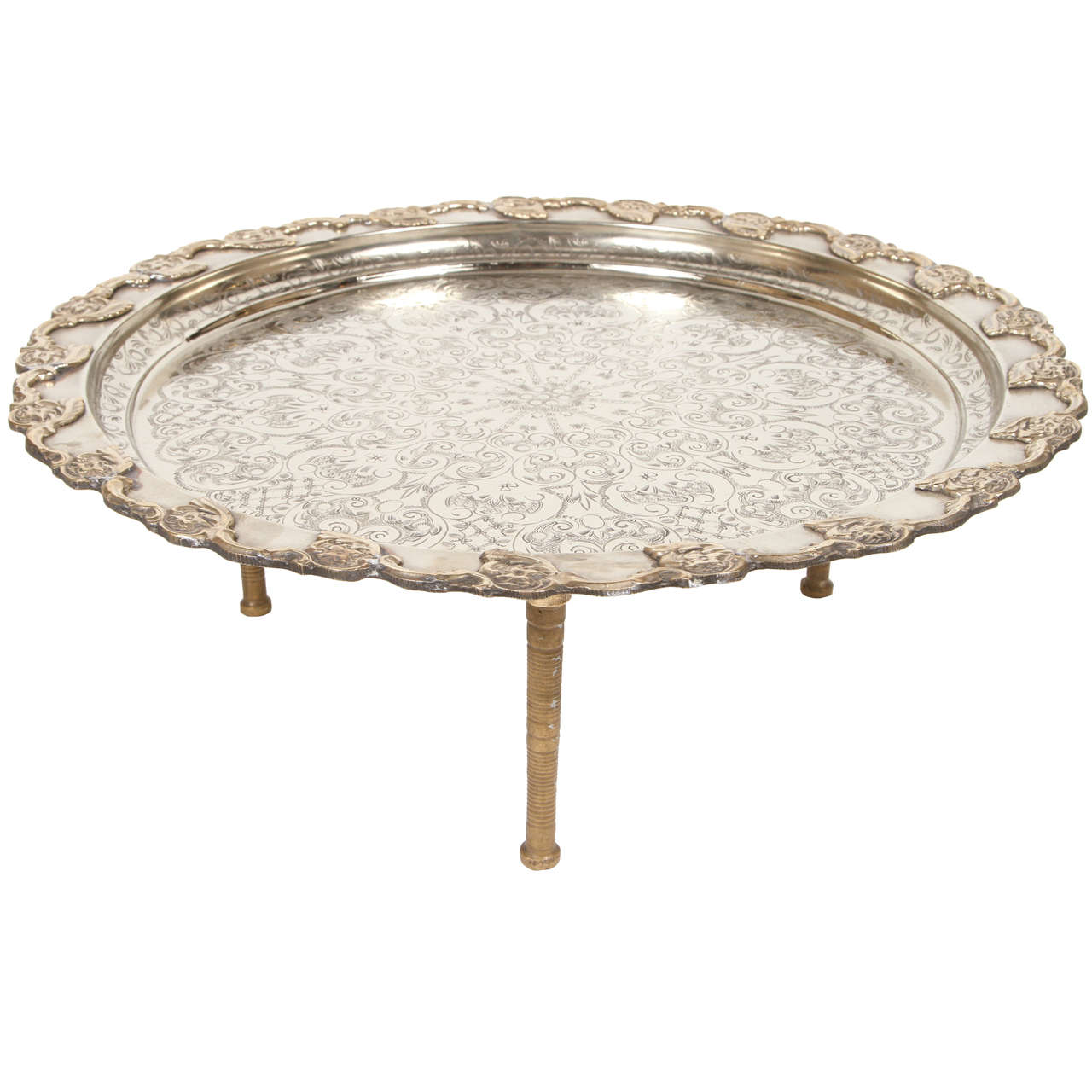 Moroccan Handcrafted Silver Round Tray 1
