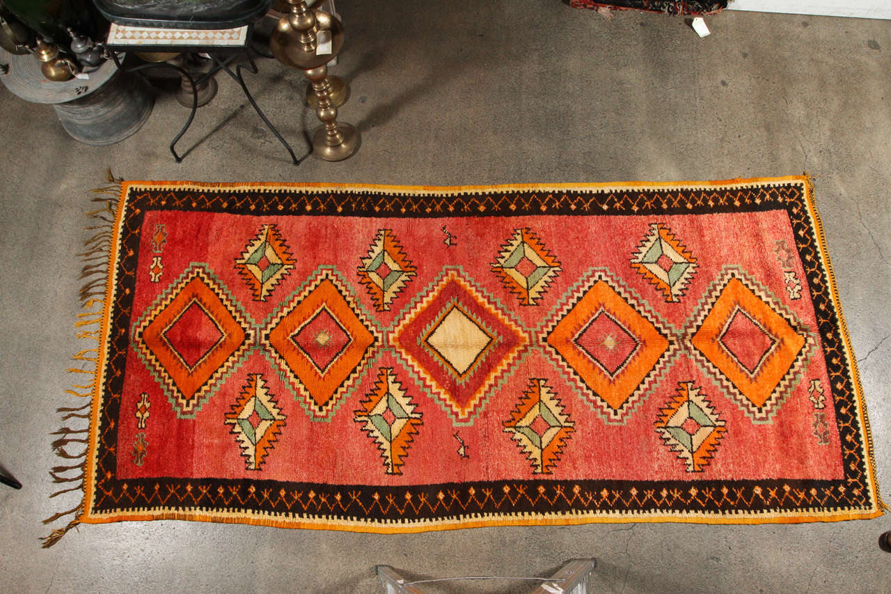 Vintage Moroccan Tribal Rug Runner Matisse Style For Sale