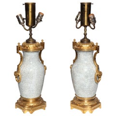 Pair of Chinese, Crackle Finish, Celadon Porcelain Vases with Gilt Bronze Mounts