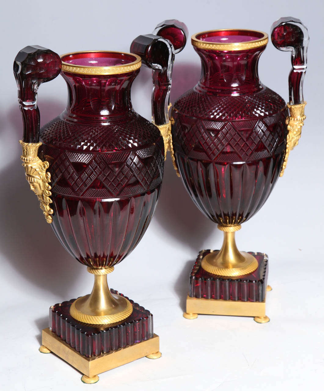 While Napoleon's armies never conquered Russian, French taste did, and in a big way. This pair made at the Imperial Glass Workshop, under the Sponsorship of the Imperial Family would have been at home in a Paris drawing room as easily as in St.