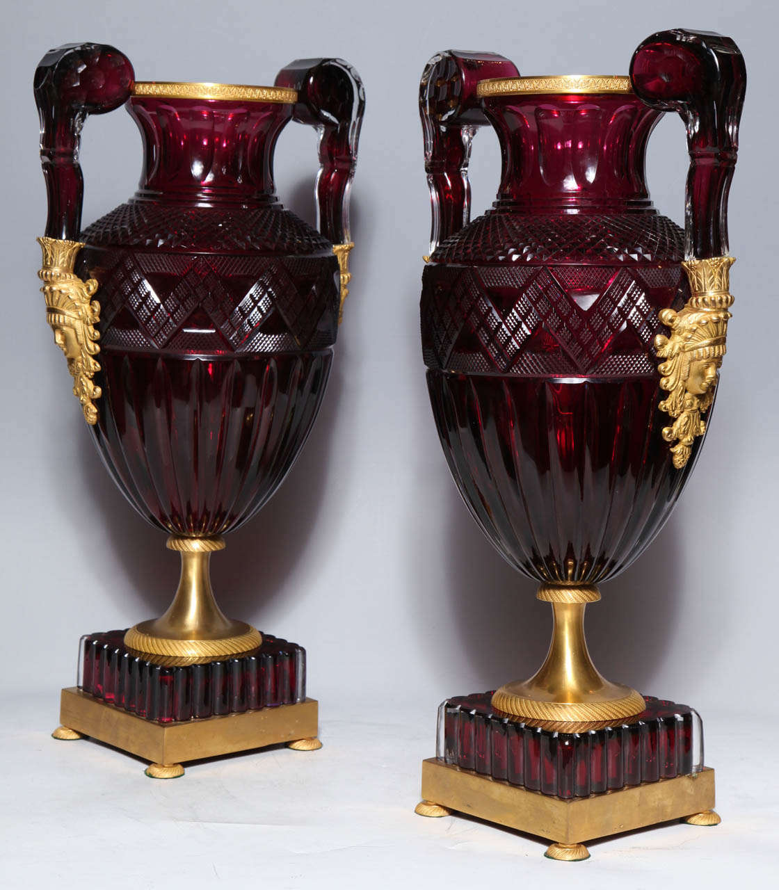 Empire A Magnificent Pair of Russian Imperial Ruby Glass Vases with Gilded Bronze Mounts For Sale