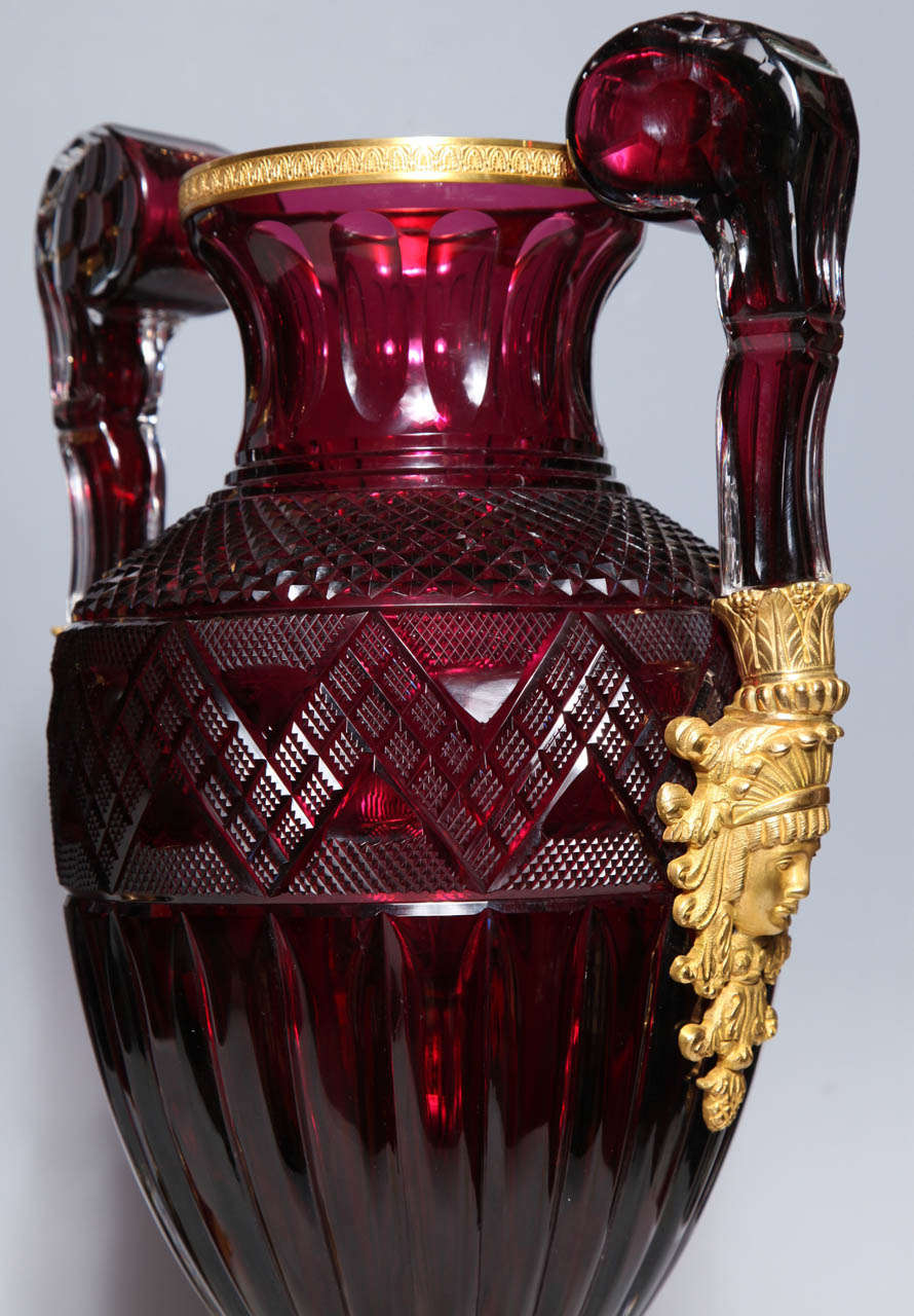 Gilt A Magnificent Pair of Russian Imperial Ruby Glass Vases with Gilded Bronze Mounts For Sale