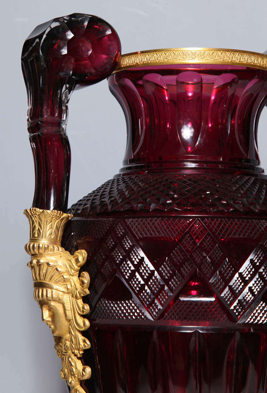 A Magnificent Pair of Russian Imperial Ruby Glass Vases with Gilded Bronze Mounts For Sale 1