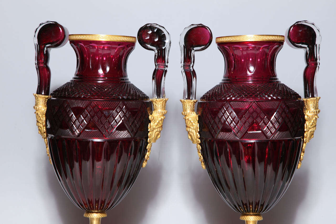 A Magnificent Pair of Russian Imperial Ruby Glass Vases with Gilded Bronze Mounts For Sale 2