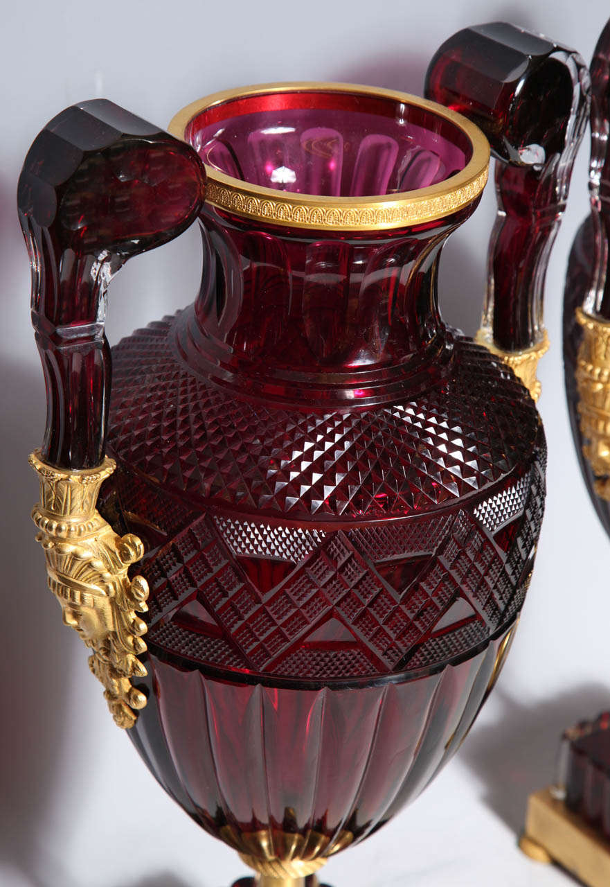 A Magnificent Pair of Russian Imperial Ruby Glass Vases with Gilded Bronze Mounts For Sale 3