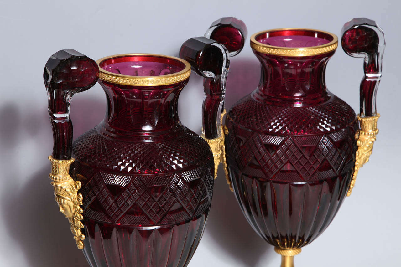 A Magnificent Pair of Russian Imperial Ruby Glass Vases with Gilded Bronze Mounts For Sale 4