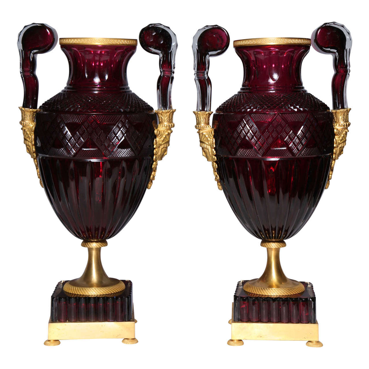 A Magnificent Pair of Russian Imperial Ruby Glass Vases with Gilded Bronze Mounts For Sale