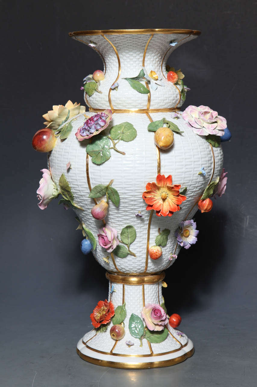 Rococo Revival Pair of Meissen Porcelain Vases Encrusted with Raised Flowers and Fruits For Sale