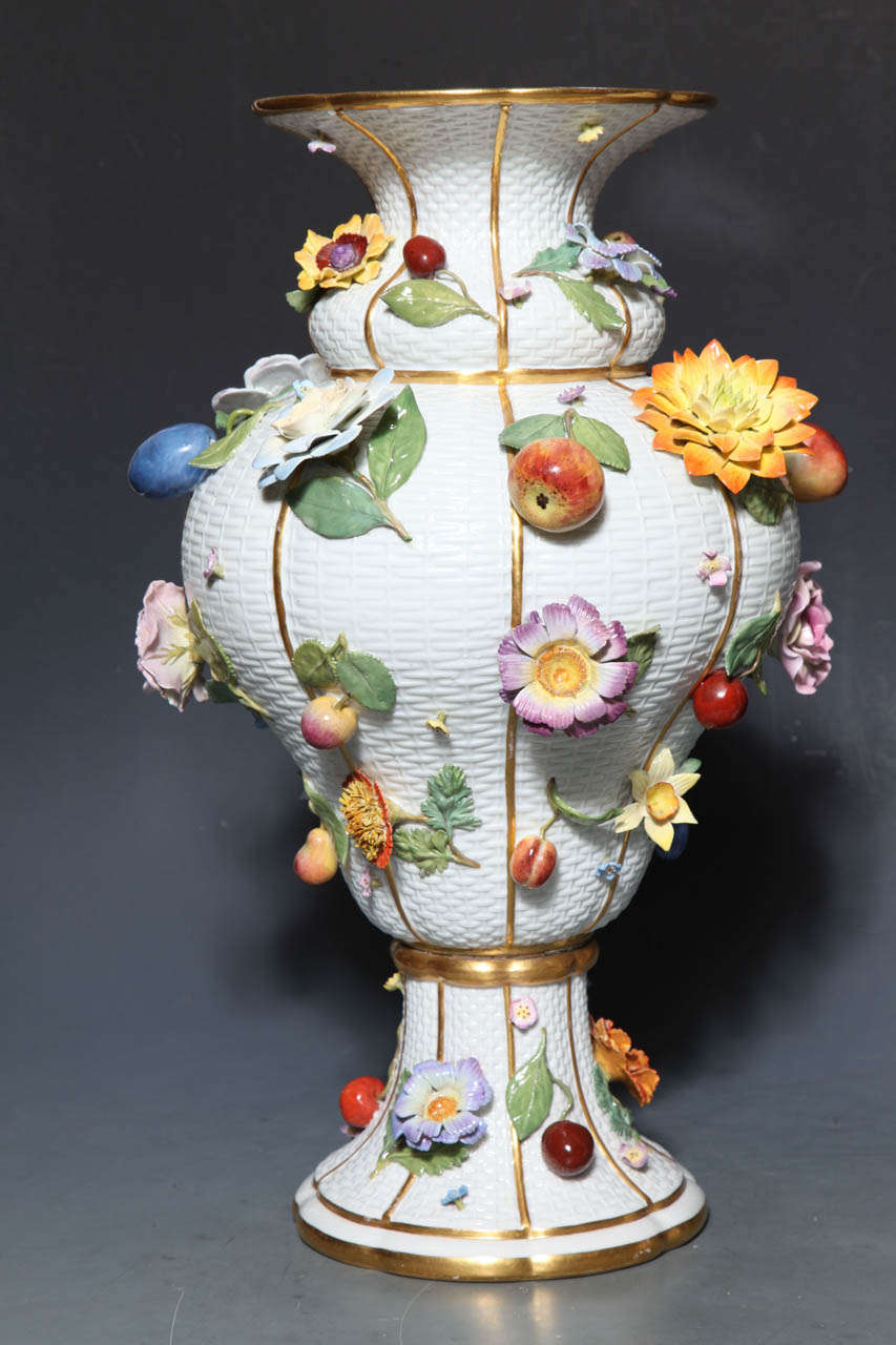 Austrian Pair of Meissen Porcelain Vases Encrusted with Raised Flowers and Fruits For Sale