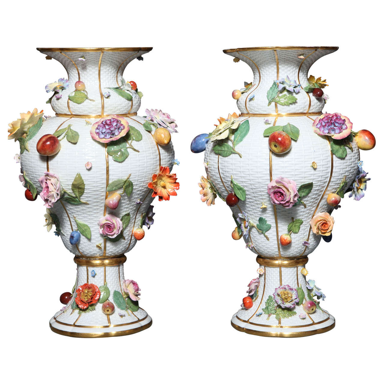 Pair of Meissen Porcelain Vases Encrusted with Raised Flowers and Fruits For Sale