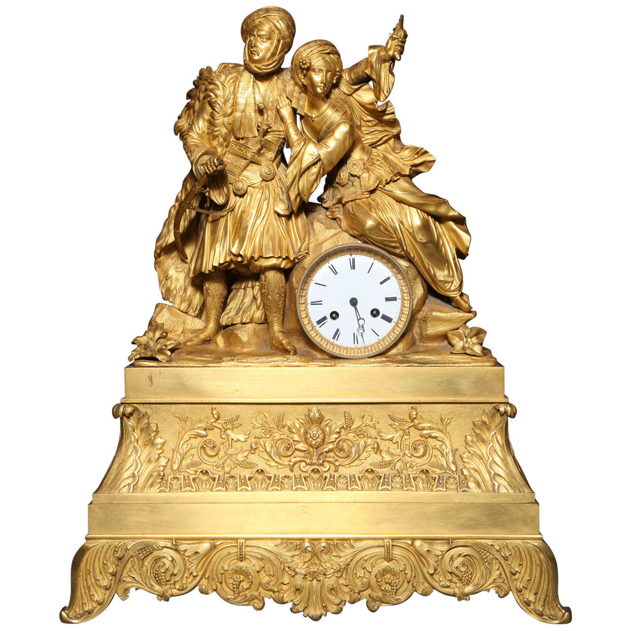 gilt bronze clock with arab prince and princess made for the