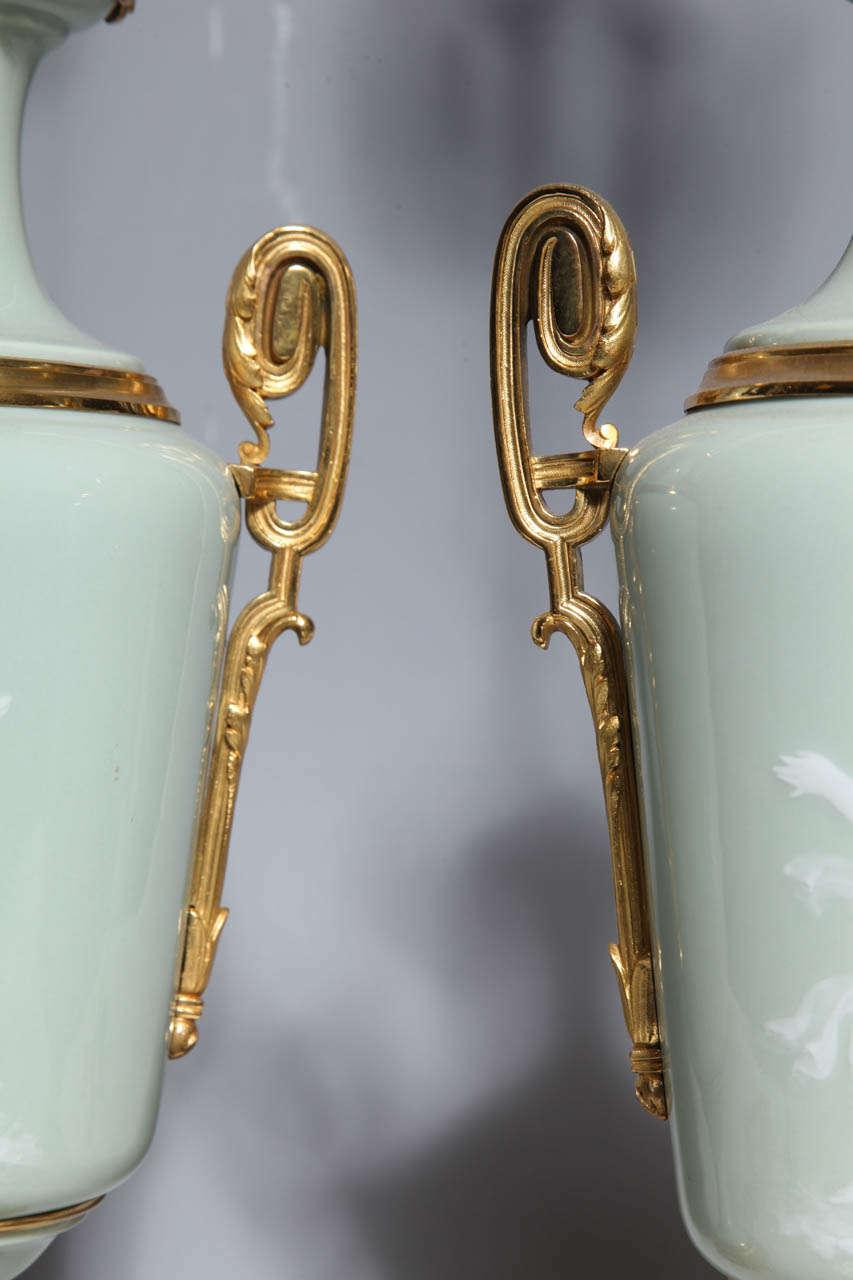 Pair Ormolu Mounted 'Pate sur Pate' Porcelain Lamps Depicting Cupids For Sale 1