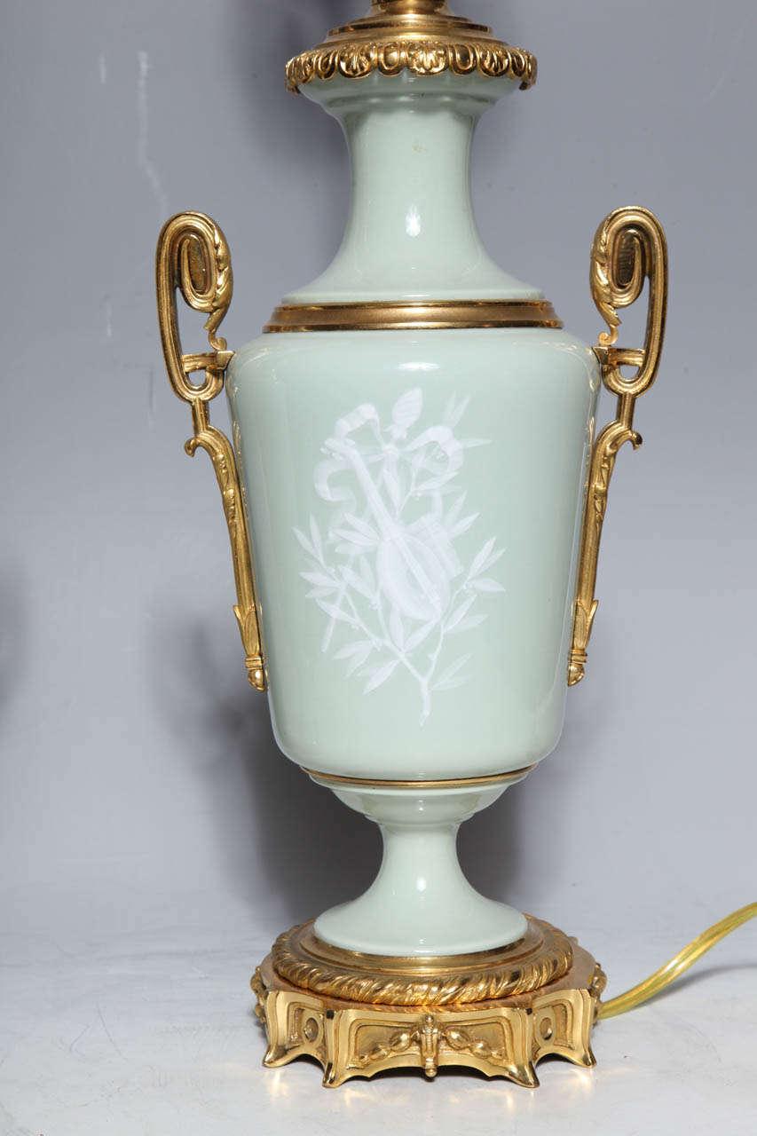 Pair Ormolu Mounted 'Pate sur Pate' Porcelain Lamps Depicting Cupids For Sale 3