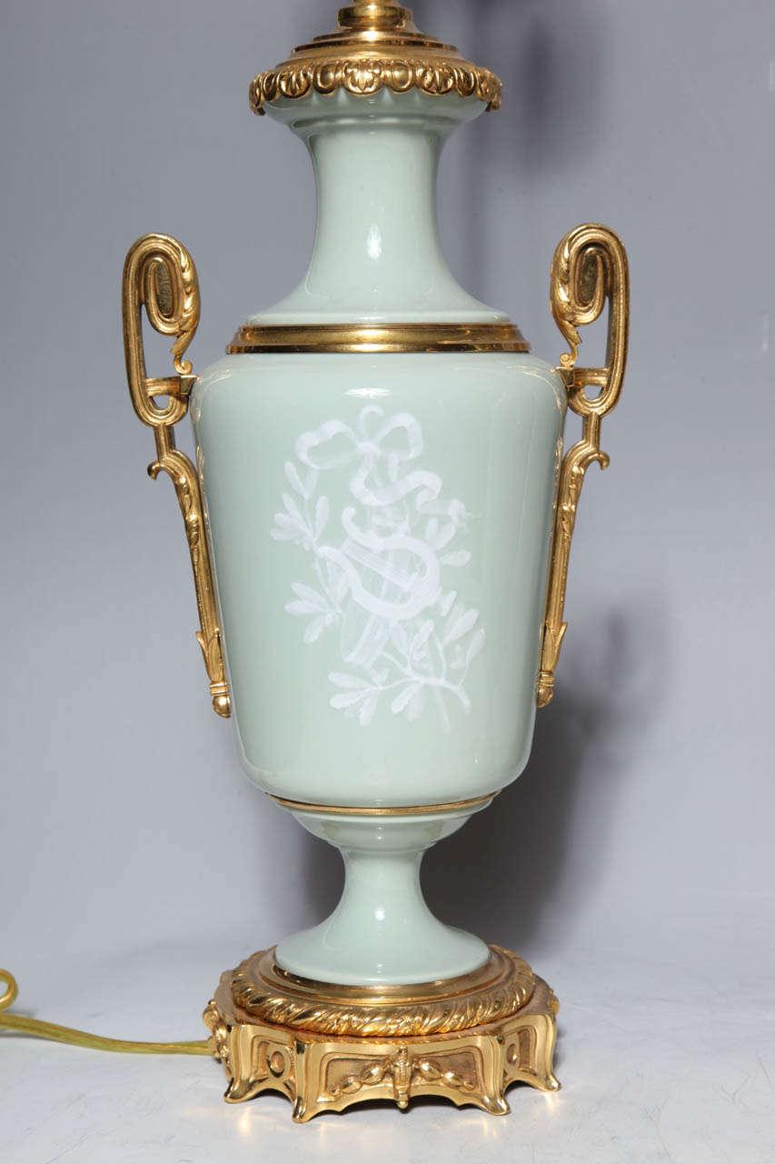 Pair Ormolu Mounted 'Pate sur Pate' Porcelain Lamps Depicting Cupids For Sale 4