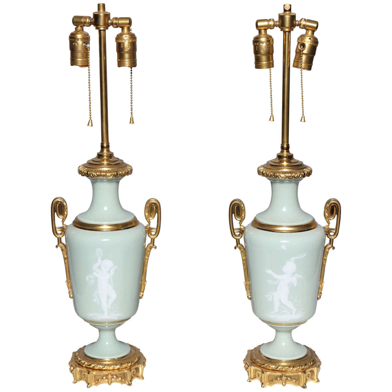 Pair Ormolu Mounted 'Pate sur Pate' Porcelain Lamps Depicting Cupids