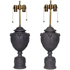 Fine Pair of Antique English Black Basalt Neoclassical Covered Urns as Lamps
