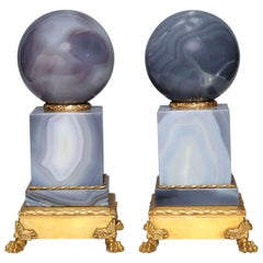 Pair of Second Empire Style Agate Orbs on Plinths with Gilt Bronze Mounts