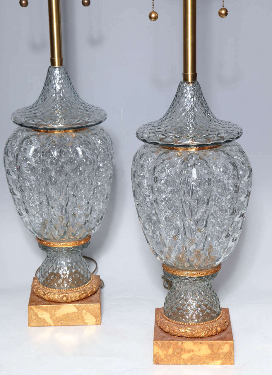 Art Deco Monumental Pair of Murano Glass Vases Wired as Lamps with Gilt Bronze Mounts For Sale