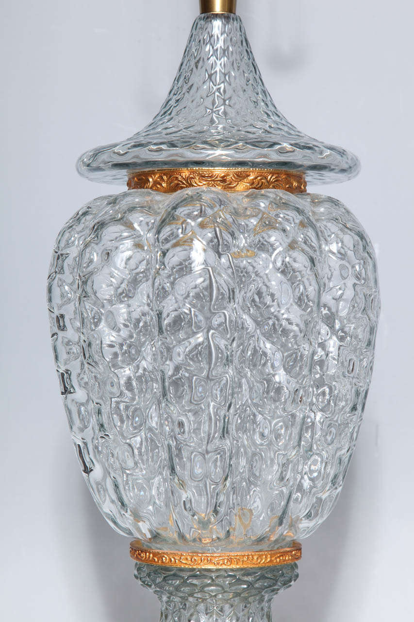 Italian Monumental Pair of Murano Glass Vases Wired as Lamps with Gilt Bronze Mounts For Sale