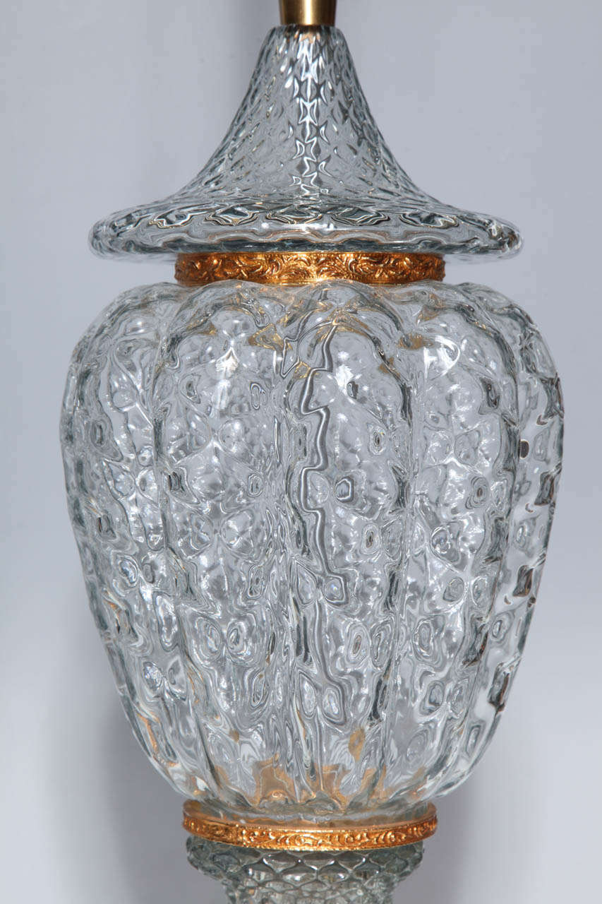 Monumental Pair of Murano Glass Vases Wired as Lamps with Gilt Bronze Mounts For Sale 1