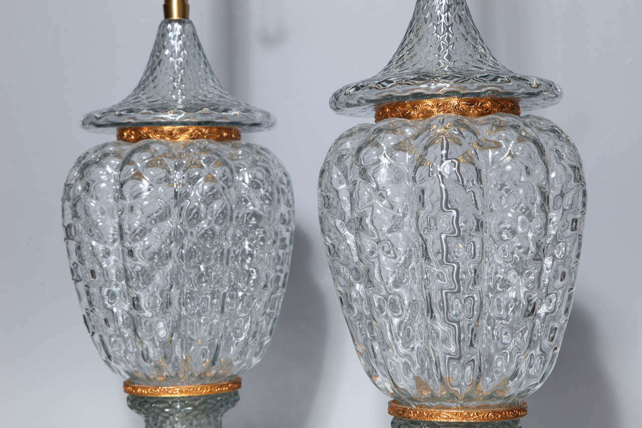 Monumental Pair of Murano Glass Vases Wired as Lamps with Gilt Bronze Mounts For Sale 2