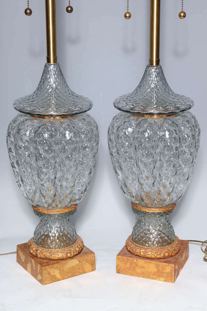 Monumental Pair of Murano Glass Vases Wired as Lamps with Gilt Bronze Mounts For Sale 3