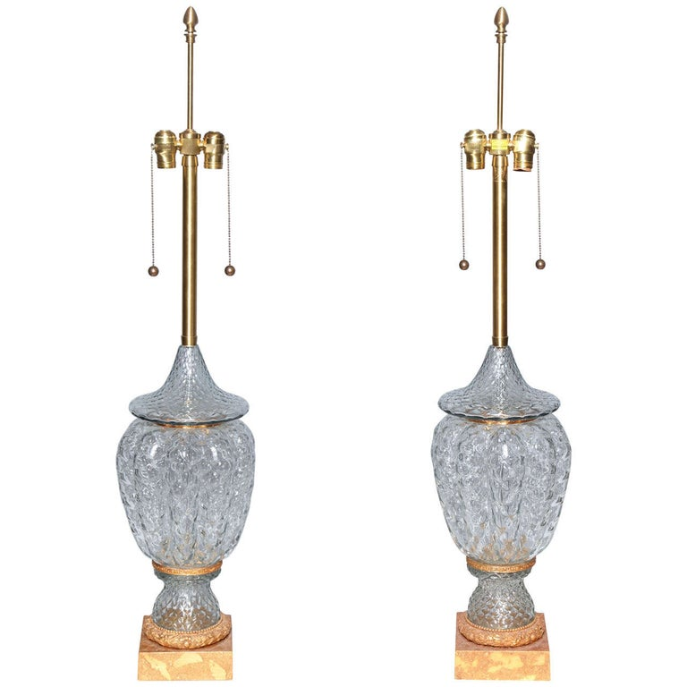 Monumental Pair of Murano Glass Vases Wired as Lamps with Gilt Bronze Mounts For Sale