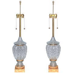A Monumental Pair of Murano Glass Vases Wired as Lamps with Gilt Bronze Mounts
