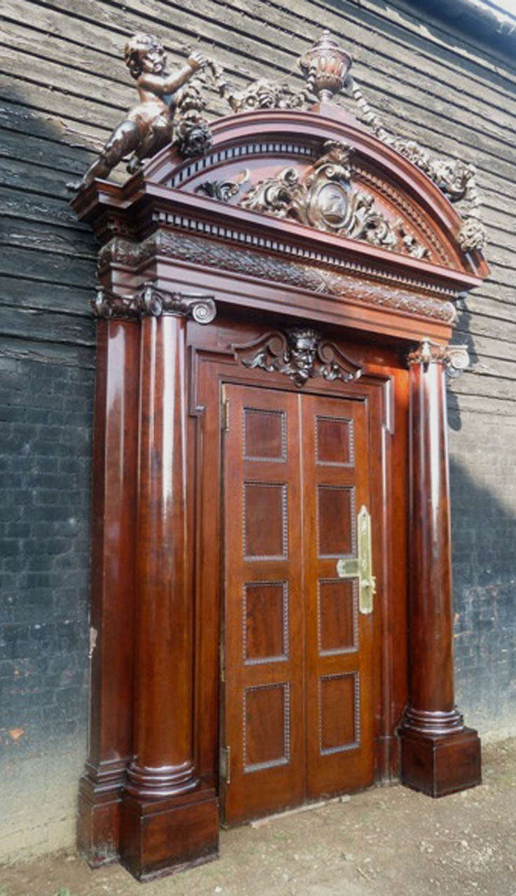 Antique carved mahogany entrance doorway for sale at stdibs