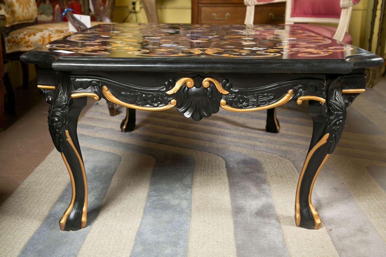 Vintage Italian Pietra Dura Marble Top Coffee Table At 1stdibs