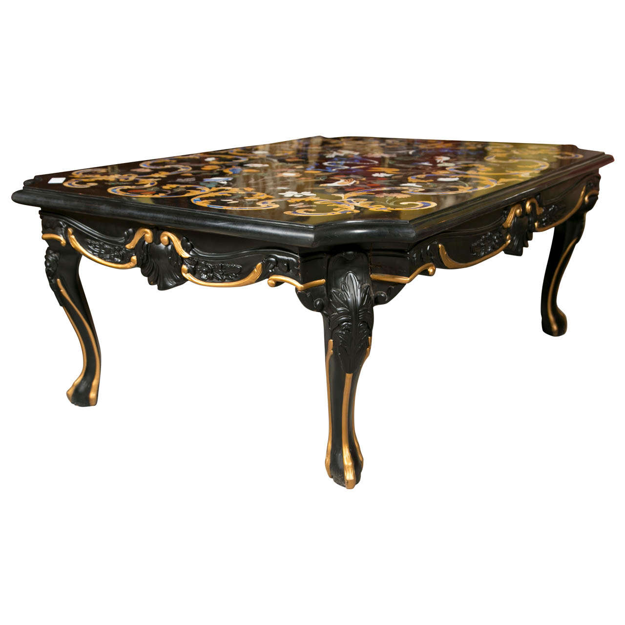 Vintage italian pietra dura marble top coffee table at 1stdibs Coffee tables with marble tops