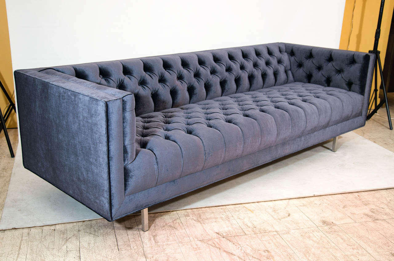 Beautiful And Plush Deeply Tufted Sofa In A Purple Gray Velvet With Brushed Nickel