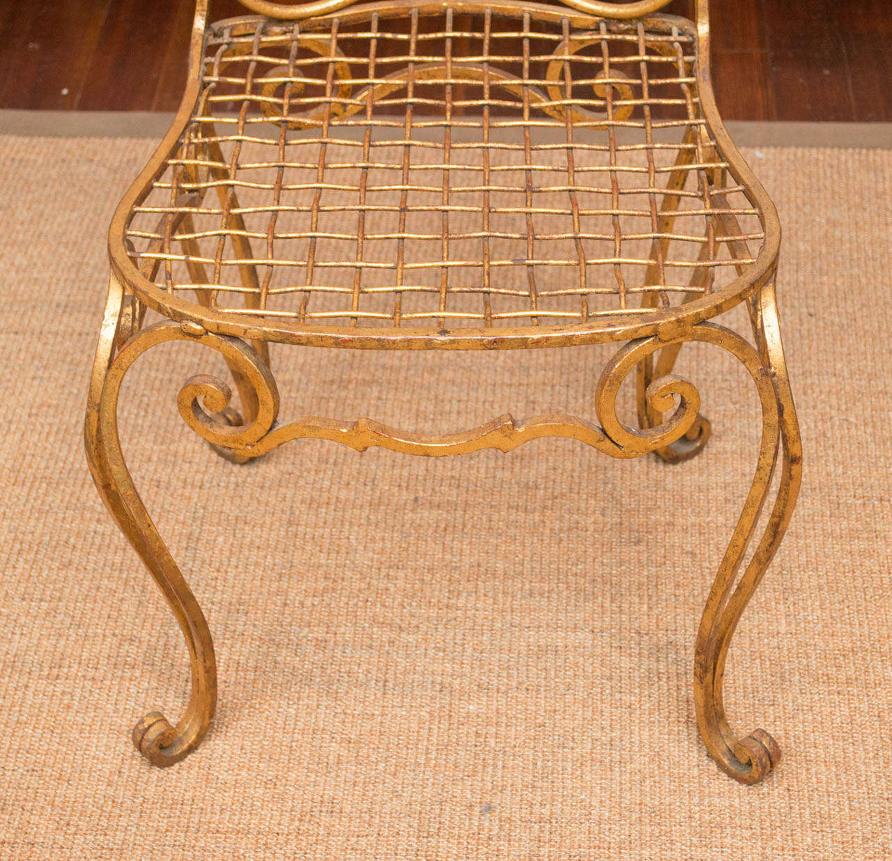 French Jean Charles Moreaux Gilt Metal Chair For Sale